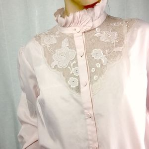 Sweet Lilac Victorian Collar Peasant Sleeve Blouse